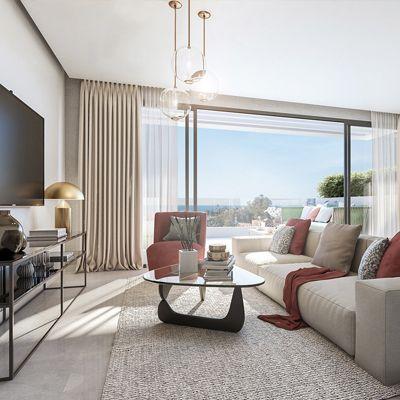 salon y terraza del apartamento de artola homes en cabopino